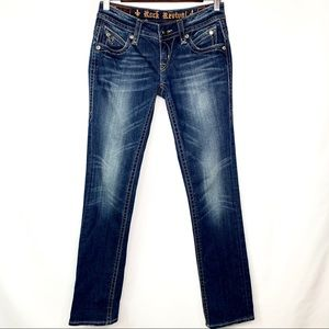 Rock Revival Dark Wash Pat Straight Leg Jeans 25